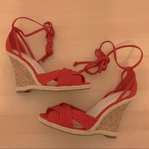 EXPRESSION Lace Up Ankle Open Toe Wedges